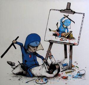 Dran, Policía y pintor en su cuadro